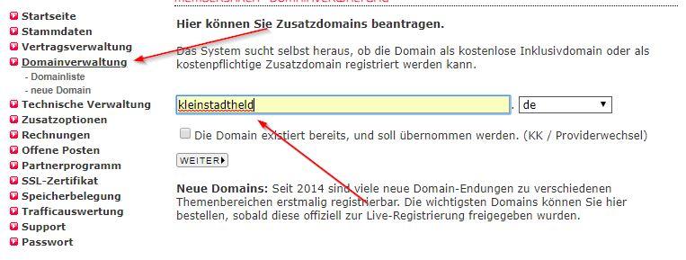 Domain einrichten