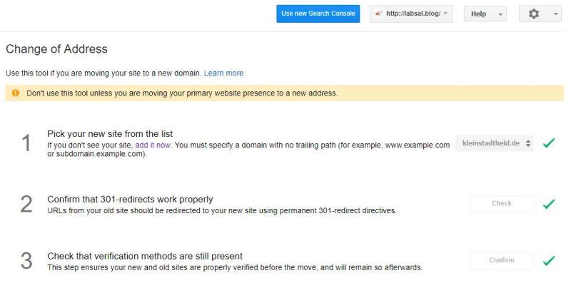 Adressänderung in der Google-Searchkonsole